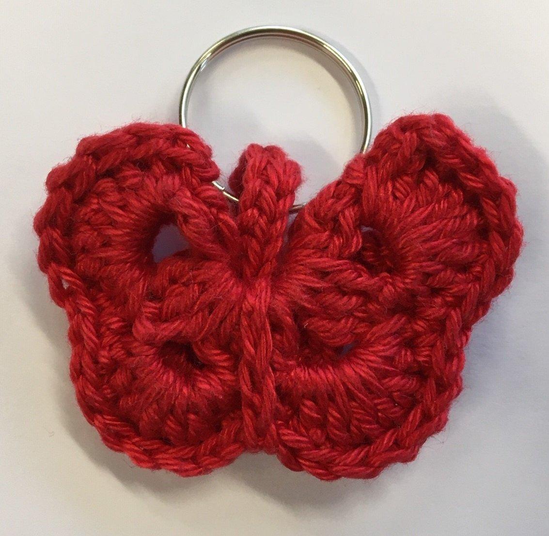 Vlinder-sleutelhanger rood
